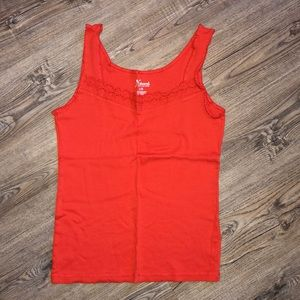 Natural Reflections Orange Tank Top w/ Lace Trim